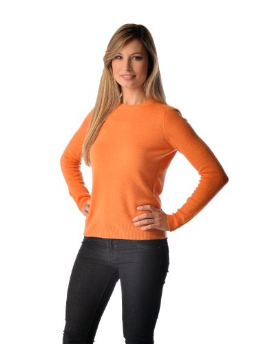Cashmere Boutique: 100% Pure Cashmere Crew Neck Spring Sweater for Women (Color: Burnt Orange, Size: Large)