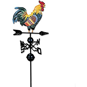 Painted Cock Decorated Weather Vane Shack Suitable for Roof Yard Indicating Wind Direction Owlhouse 51-inch Metal Weather Vane