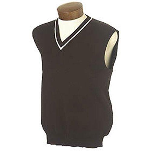 V-neck Sweater Vest Performance (Monterey Club Men's V-Neck Sweater Vest with Tipping #1952 (Black,Medium))
