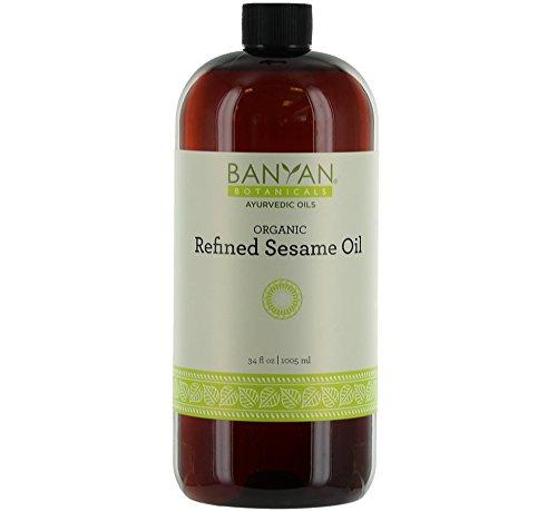 Ayurvedic Warming Massage Oil - Banyan Botanicals Refined Sesame Oil - USDA Organic, 34 oz - Unscented Traditional Ayurvedic Oil For Massage