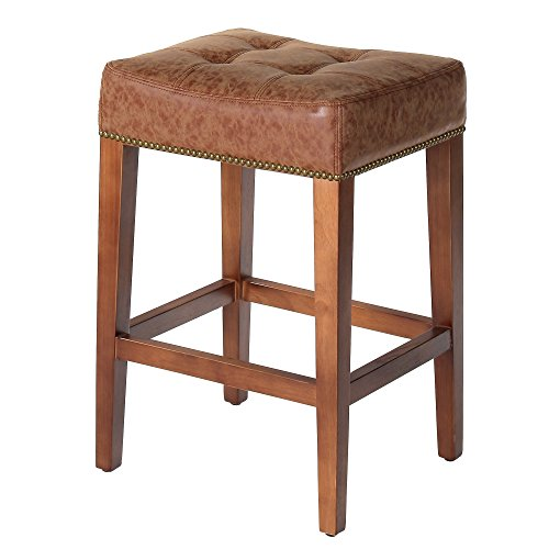 Joseph Allen Home PV-VOSAL-C Nashville Stool, Solid Oak (Oak Brass Stool Bar)