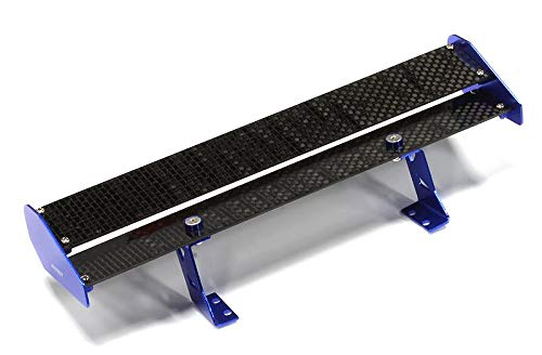Integy RC Model Hop-ups C25103BLUE Realistic 1/10 Size Carbon Fiber Rear Wing 185mm Width