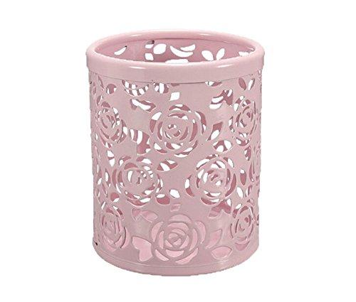 Leegoal(TM) Hollow Rose Flower Metal Pen Pencil Cup Holder Desk Organizer (Pink)