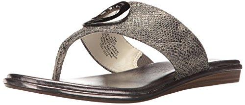 Reptile T-strap Sandal - Anne Klein Women's Gia Reptile Flip-Flop, Dark Silver, 7.5 M US