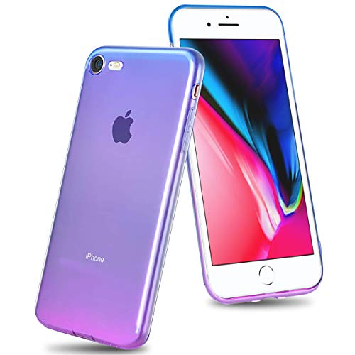Airror Phone Case Compatible with iPhone 8 /iPhone 7, Clear Multi-Color Gradients Slim Case, Impact Resistant Protective Soft TPU Cover [ Support Wireless Charging ] - Blue & Purple (Multi Color Pack Compatible)