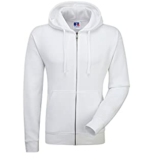 Russell Mens Authentic Full Zip Hooded Sweatshirt / Hoodie (M) (White)