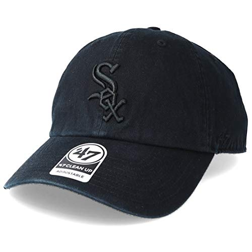 '47 Brand Chicago White Sox Clean Up MLB Strapback Hat Cap All Black/Black (White Sox Hats)