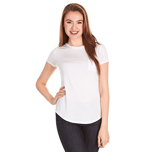 X America Crew Neck Short Sleeve Junior and Plus Size T Shirts for Women w/Pocket, Made in USA White