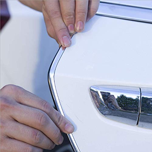 car door edge guards-HengJia Auto Parts 16FT(5M) door edge trim Rubber Seal Protector car edge trim with Fits Most Cars, No Glue Needed(electroplated Silver)