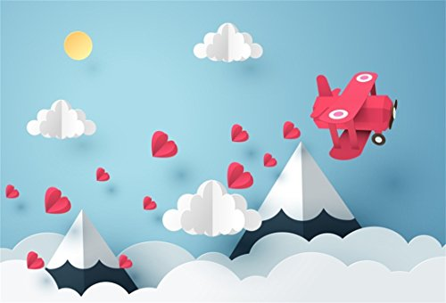 AOFOTO 6x4ft Dreamy Sky Cute Clouds Backdrop Handmade Hearts Origami Paper Hill Kid Biplane Photography Background Cartoon Fairy Tale Abstract Mountain Photo Studio Props Infant Baby Newborn Portrait
