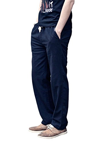 Hemp Jeans (Port&Lotus Men's Linen Casual Pants with Drawstring for Outdoor Activity XX-Large)