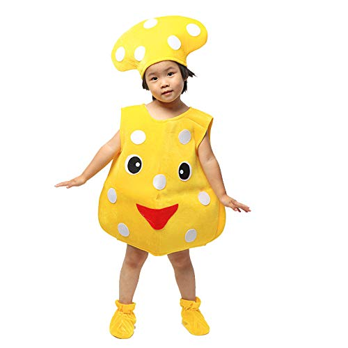 (Children's Fruit Vegetables Costume Kids Yellow mushroom Party Clothing Costumes for Halloween Cosplay Christmas Holiday Toddler Boys)