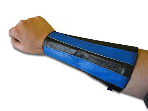 Stripe Gauntlet - LongLifeLeather Blue Stripes Double Leather Laces Wristband Arm Band Hand Gauntlet Cuff New Pair