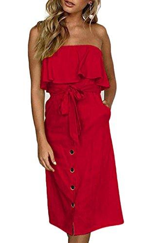 i Dress for Women Off The Shoulder RuffleTie Knot Front Button Trim Midi Dress Flowy Sundress Red L ()