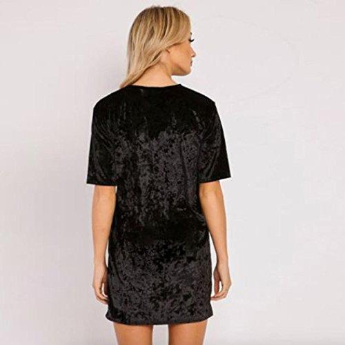 Vestidos para mujer, Vovotrade Mujeres Vestido de manga corta de terciopelo Negro