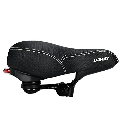 DAWAY Comfortable Men Women Bike Seat C99 Memory Foam Padded Leather Wide Bicycle Saddle Cushion with Taillight, Waterproof, Dual Spring Designed, Soft, Breathable, Fit Most Bikes, 1 Year Warranty by DAWAY (Image #7)