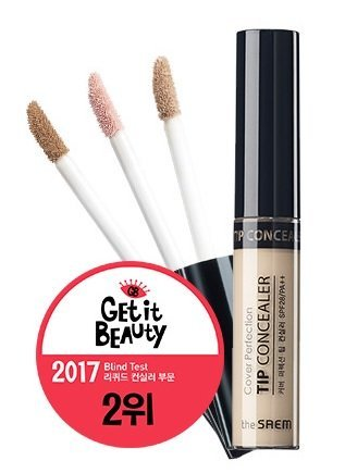 [the SAEM] Cover Perfection Tip Concealer SPF28 PA++ 6.5g #1.5 Natural Beige - High Adherence Concealer without Clumping and Cracking, Covers Blemishes, Freckles and Dark Circles