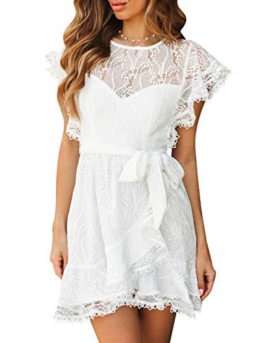 BerryGo Women's Elegant Cap Sleeve Lace Mini Dress Ruffle Wrap Aline Dress White