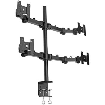 Amazon Com Quad Lcd Monitor Stand Desk Clamp Holds Up To