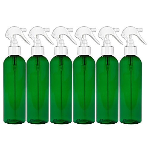 (MoYo Natural Labs 8 oz Spray Bottles, Trigger Sprayer Empty Travel Containers, BPA Free PET Plastic for Essential Oils and Liquids/Cosmetics (6 pack, Forest Green))