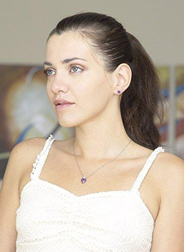 Majesto 925 Sterling Silver Purple Heart Pendant Necklace Stud Earrings Bracelet Set For Women Teens Girls by Majesto (Image #5)