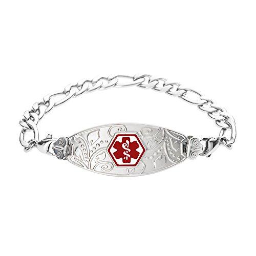 Divoti Custom Engraved Lovely Filigree Medical Alert Bracelet -Figaro Stainless -Red-8.5