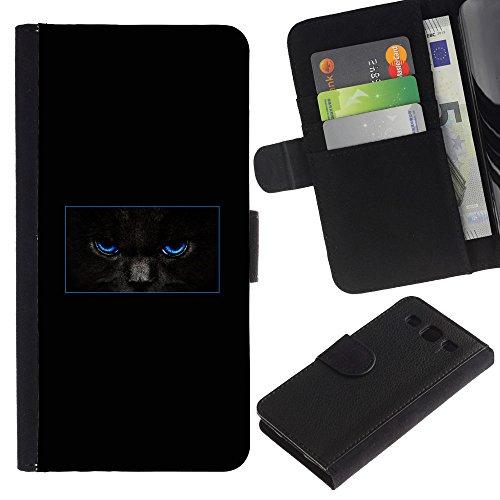 EuroCase - Samsung Galaxy S3 III I9300 - minimalist black cat mysterious - Cuero PU Delgado caso cubierta Shell Armor Funda Case Cover