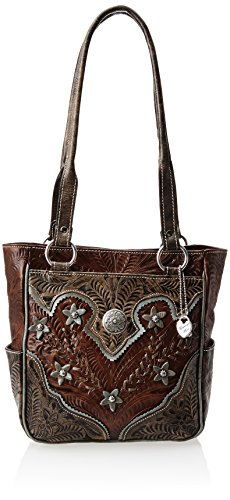 American West Womens Purse (American West Desert Wildflower Zip Top With Pockets Shoulder Bag,Mocha Tan/Distressed Brown/Blue,One Size)