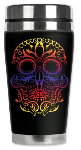 Mugzie brand 16-Ounce Travel Mug with Insulated Wetsuit Cover - Colorful Sugar Skull ()