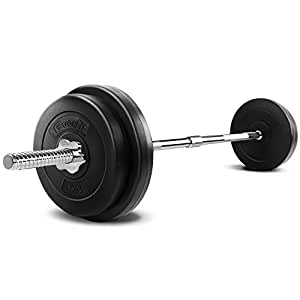 Barbell Set 38KG with 30KG Weight Plates 8KG Barbell Olympic Bar 120KG Weight Capacity Adjustable Spring Collars – Everfit