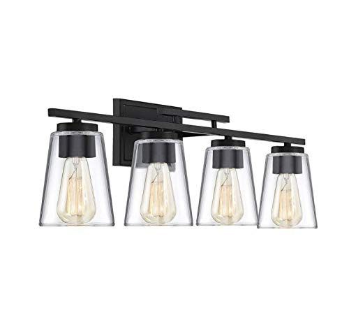 Savoy House 8-1020-4-BK Calhoun 4-Light Bathroom Vanity Light in a Black Finish with Clear Glass (32'' W x 9'' H) by Savoy House (Image #2)