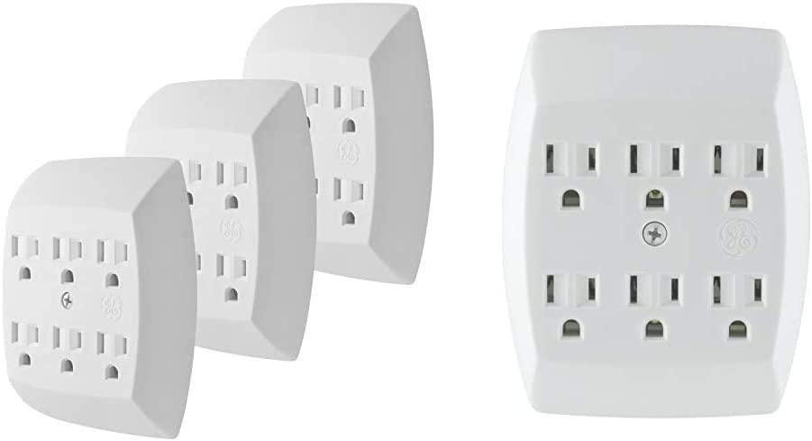 GE 6-Outlet Adapter, 3 Pack, 3-Prong, Grounded, Wall Charging Station, 51532, Standard | White & 6 Outlet Adapter, 3 Prong Outlets, Grounded, Wall Charger, Charging Station, White, 54947