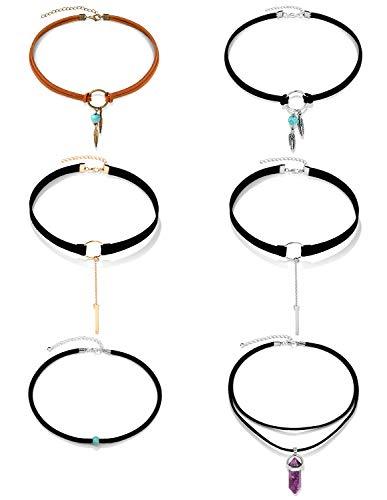 - Ofeiyaa 6CS Single Turquoise Bead Choker Necklace Bohemian Feather Handmade Leathe for Women Girls Adjustable Gold Tone (B:6pcs)