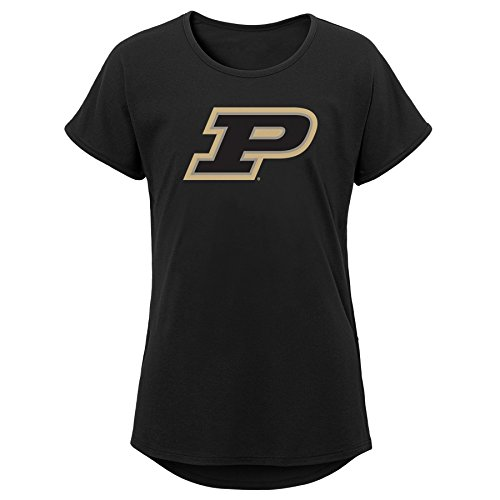 (NCAA Purdue Boilermakers Youth Girls  Primary Logo Dolman Tee, Youth Girls Large(14), Black/Gold)