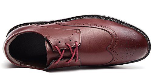 Odema Mens Classic Leather Oxford Wingtip Lace Up Dress Shoes Bridegroom Oxfords Red B6uXKd9gaV