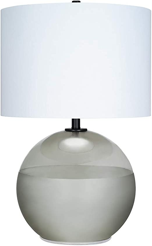 Catalina Lighting 21391 003 Mid Century Modern Round 2 Tone Frosted Glass Table Lamp With Antique Brass Accents 27 25 Smoke Grey Black Home Improvement