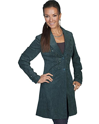Scully Women's Embroidered Boar Suede Long Coat Teal 4 - Embroidered Suede Leather Coat