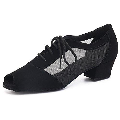 Pro Dancer Women Ballroom Dancing Shoes Salsa Sandals Latin Dance Practice Shoe, Black Urethane, 9 B(M) US