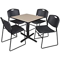 Cain 30 Square Breakroom Table- Beige & 4 Zeng Stack Chairs- Black