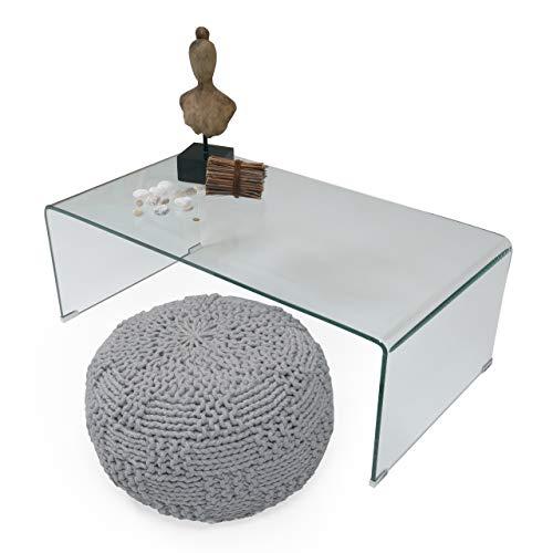 Homely - Mesa de Centro de Cristal Curvado y Templado de una Pieza Murano de 110x60 cm (Cristal Transparente)