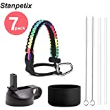 Stanpetix Paracord Handle of Hydro-Flask Water Bottle Accessories Set (Two Straws, Two Cleaning Brush and Protective Silicone Boot) Fits Wide Mouth Bottles 12 oz to 40 oz