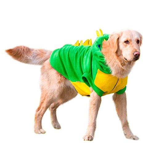 Halloween Costumes For Pets And Owners (Mylovepets Dragon Halloween Costume Warm and Comfortable Cool Outdoor Dog Pet Green Clothes Shirt 7XL)