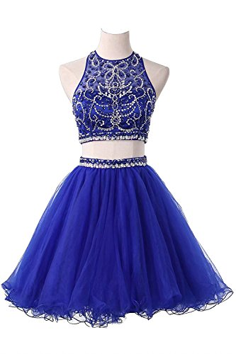 Holygift Women's Short Halter Two Piece Beaded Tulle Evening Gowns Prom Homecoming Dresses Royal Blue US2 by Holygift