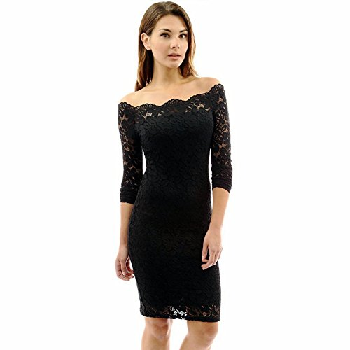 Anxihanee Women's Off Shoulder Twin Set Floral Lace Bodycon Cocktail Party Dress (M, (Strapless Pencil)