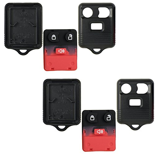 Keyless2Go New Replacement Shell Case and 3 Button Pad for Remote Key Fob with FCC CWTWB1U345 - Shell ONLY (2 Pack)