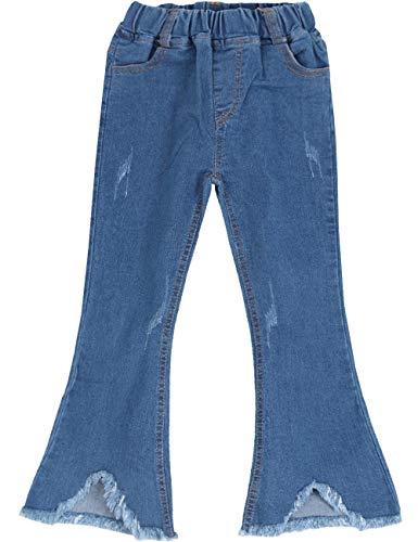 (WIYOSHY Girls' Denim Bell Bottom Jeans Elastic Waist Pull On Tassel Bottom Pants (blue-20, 150 (Size 10/12)))