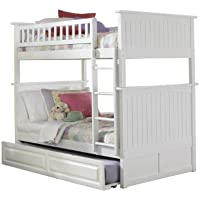 Nantucket Bunk Bed with Raised Panel Trundle Bed, Twin Over Twin, White