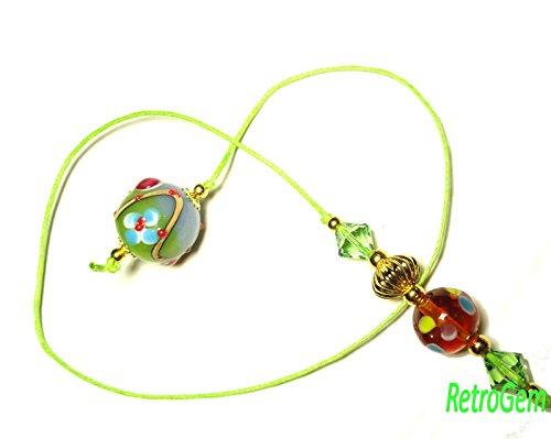 RetroGem Unique Floral Lampwork Bead Book Thong Bookmark With Green Swarovski Elements Crystal (Green)