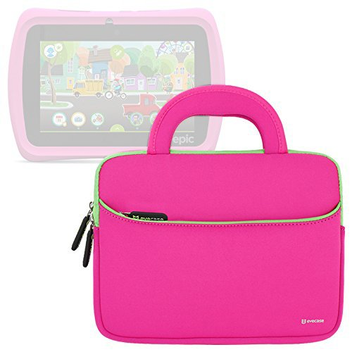 Evecase Leapfrog Epic/LeapPad Platinum/LeapPad Ultra XDI 7'' Kids Tablet Ultra Portable Travel Carrying Neoprene Sleeve Case Bag with Handle & Accessory Pocket - Hot Pink (Leappad 3 Accessories)