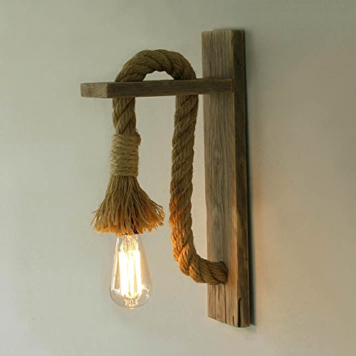 Homesake Rope Wall Lamp with Wooden stand, E27 Holder with LED filament bulb, Decorative, Urban Retro Style, Antique wood